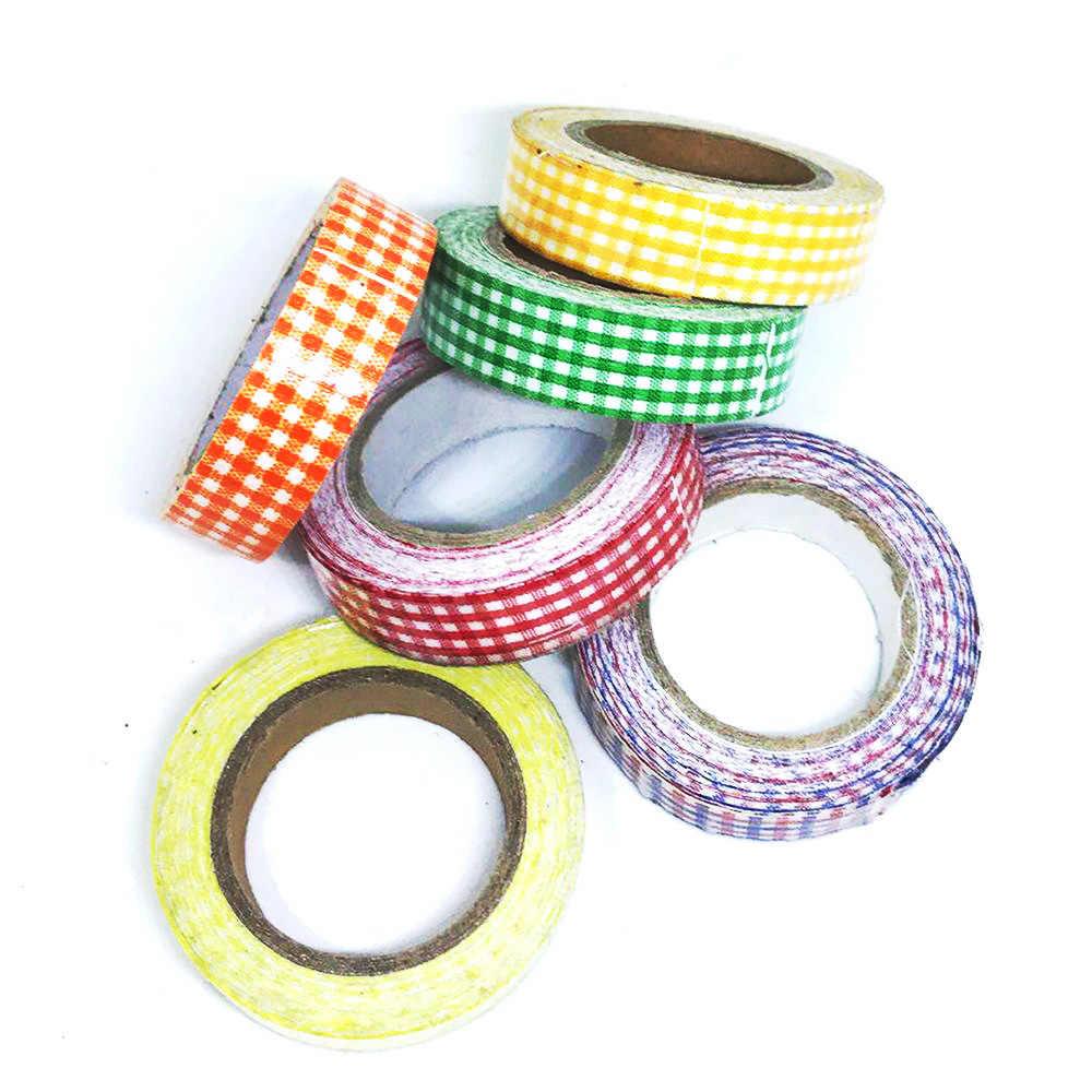 Caliente 4 yardas 15mm Wirth cinta adhesiva Washi cinta decorativa DIY Grid artesanías adhesivo Scrapbooking pegatina de papel