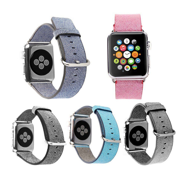 Nylon band for apple watch strap wrist colorful fashion style with classic buckle and adapters comfortable feel