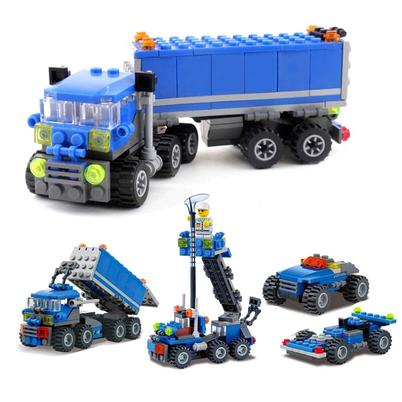 163PCS KAZI 6409 Truck Building Blocks Compatible With  City Car Brick Educational Toys For Kids Birthday Gift Brinquedo 13 6409 2013