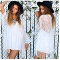 New Fashion Sexy Kimono Cardigan Women Hollow Lace Loose Tops White Black Casual Long Sleeve Tassel Hot Blouse KH667161