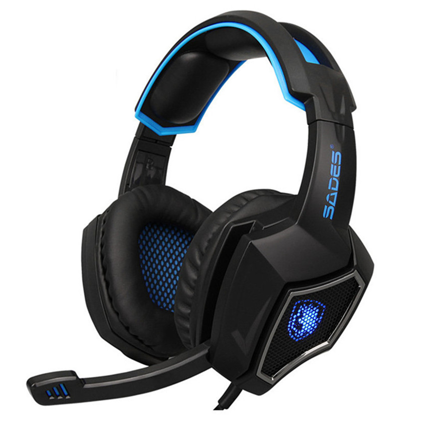 Sades Spirit Wolf Wired Pro Gaming Headphones with Mic Computer Stereo Earphones Noise Isolating LED Lights Headset for PC Gamer giantree wire game stereo sound earphones headset earset headphone wired earpiece bass noise reduction with mic for computer
