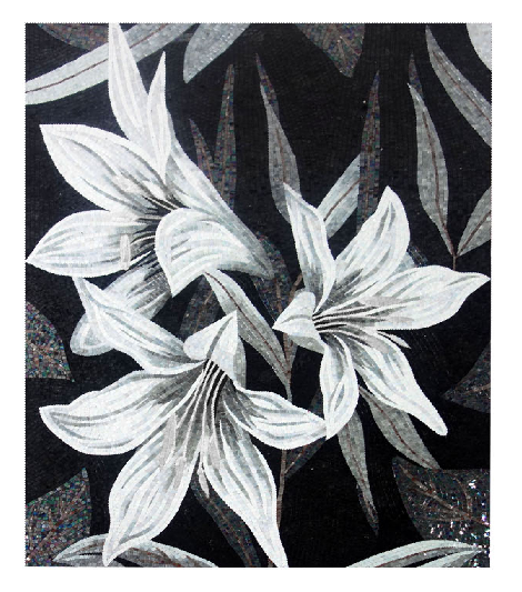 Wall Murals Glass Mosaic Mural White Lily Flower Unique for Home