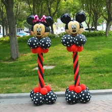 28pcs/lot Minnie Mickey Mouse Head Black Red Latex Balloons Column Base Sticks Baby Shower Birthday Party Decoration Supplies