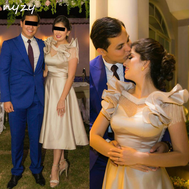 NYZY C16 Ruffles Cap Sleeve Tea Length Beadings Champagne Satin Dress For Wedding Party Homecoming Vestido Robe Cocktail Dresses