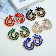 US $1.96 |XIYANIKE Fashion Hollow Out Spiral Colorful Leaves Drop Earrings Charm Rhinestone For Women Piercing Trendy Jewelry Wholesale-in Drop Earrings from Jewelry & Accessories on AliExpress - 11.11_Double 11_Singles' Day