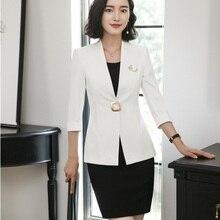 Señoras vestido trajes para las mujeres trajes de negocios blanco Blazer y chaqueta  conjuntos uniformes ropa 37a8bf327408