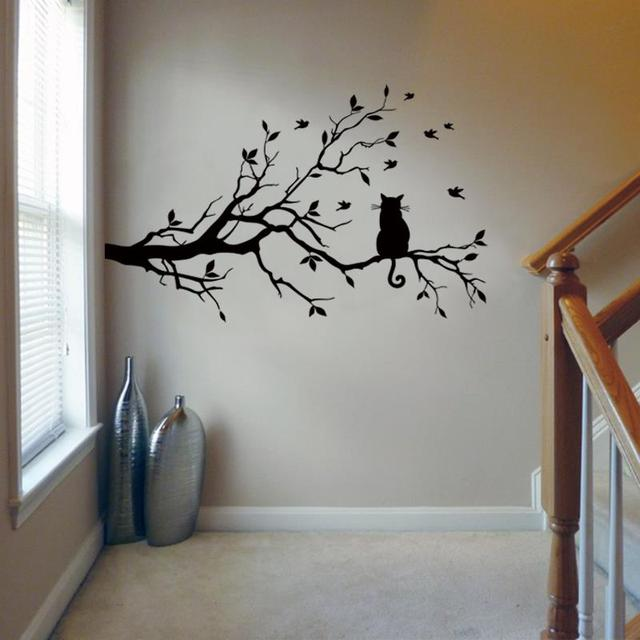 Cat On Tree Branch Birds Wall Sticker Tree Vinyl Wall Decal Adesivi Murali  Glass Film Window Part 65