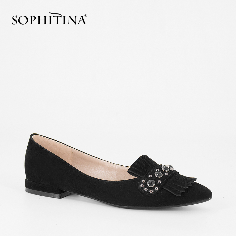 SOPHITINA Handmade Woman Flats 2019 New Fashion Elegant Pointed Toe Fringe Lady Shoes Pink Black Genuine