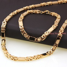 6ミリメートル55センチメートル/22センチメートルセット男性ブレスレットビザンチンリンクチェーンゴールド鋼バングル女性パンクロックジュエリークールギフトbyzantine bracelet gold6mm chainstainless steel chain byzantine
