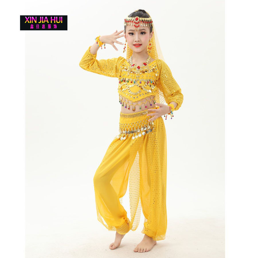 Quality Shiny Indian Sari Girls Dress Orientale Enfant Indian Costumes For Kids Oriental Dance Costumes Belly Dance Dancer индийский костюм для танцев девочек