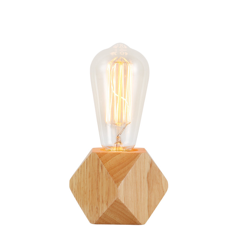Modern Retro Mini Solid Wood Polyhedron Table Lamps Living Room Bedroom Desk Bedside Eu Plug Switch Line E27 Wooden Tafel Lamp Lights & Lighting