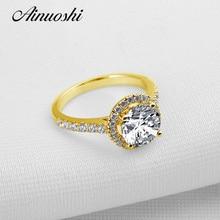 1593f8b0f495 AINUOSHI 10 K oro amarillo anillo de boda personalizado Halo diamante  simulado joyería fina lujo 2 ct corte redondo compromiso d.