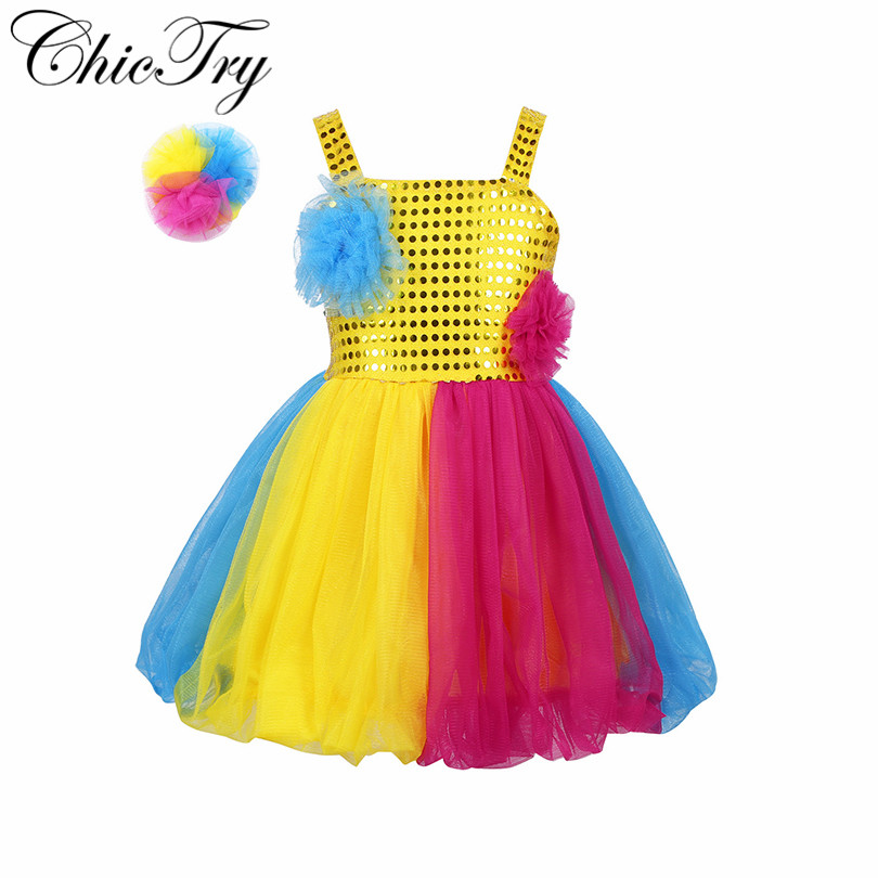 Kids Girls Child Dancewear Costume Sparkly Sequins Mesh Tutu Dress with Hairclip Set for Modern Contemporary Dance Cosplay Party