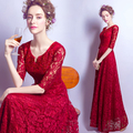 Sexy wine long lace half sleeve floor length lady girl women princess bridesmaid banquet party dress gown free shipping