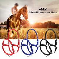 6MM Thickened Horse Head Collar Adjustable Safety Halter Bridle Headcollar