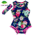 (DEWDROP)Navy Blue Hot Pink Floral Pom Rompers For baby girls shabby chic romper baby playsuit  baby floral romper free shipping