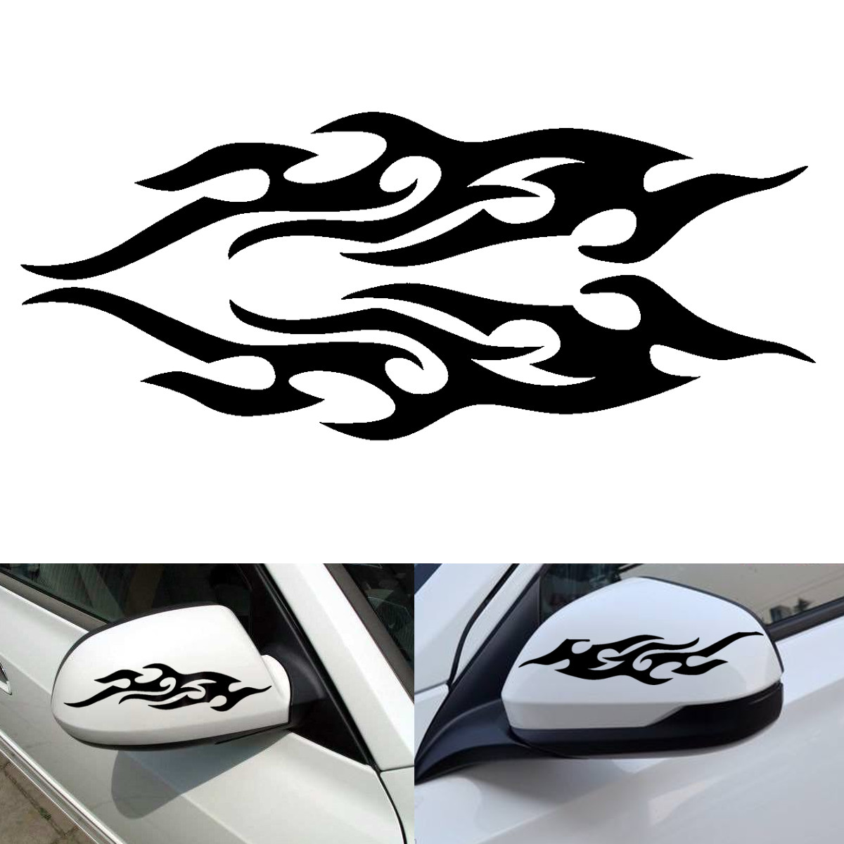 Bike stickers design online - Universal Car Truck Bicycle Black Flame Body Mirror Decal Vinyl Graphics Side Sticker 20 X 8cm