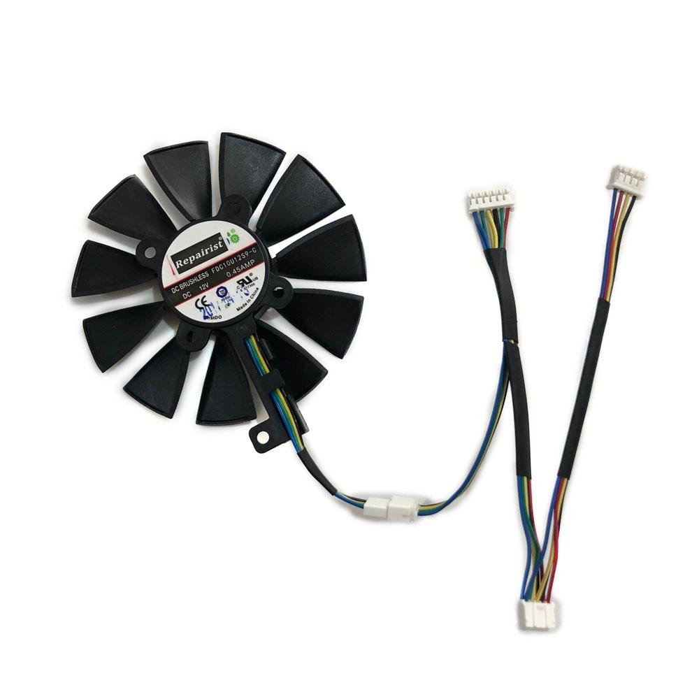 87 MM (90 MM) FDC10U12S9-C RX580 RX480/VEGA64 GPU VGA Cooler Fan Para ASUS ROG-STRIX-RX VEGA64/580/480 Cartões Gráficos Arrefecimento