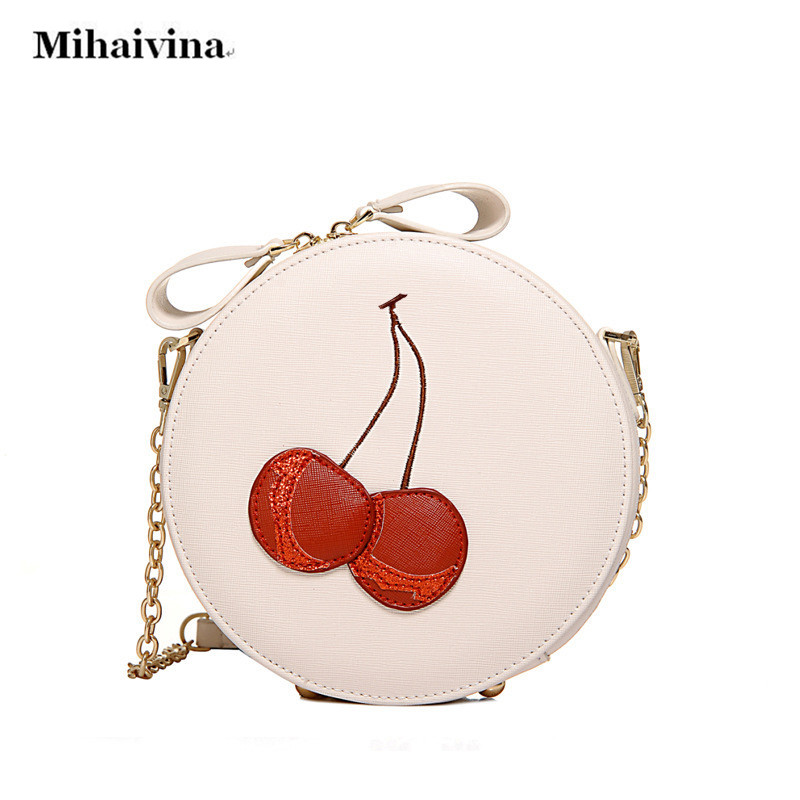 Round Women Bag Chain Crossbody Shoulder Bag Ladies Cute Circular Women Messenger Bags Red Cherry Embroidery