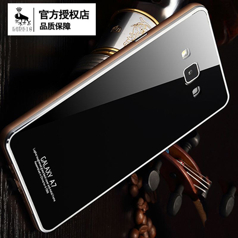 the latest b09f9 9a05f US $18.99 |Free shipping Luphie 2015 hot new arrival guaranteed 100%  tempered glass back cover with metal frame case for Samsung Galaxy A7 on ...