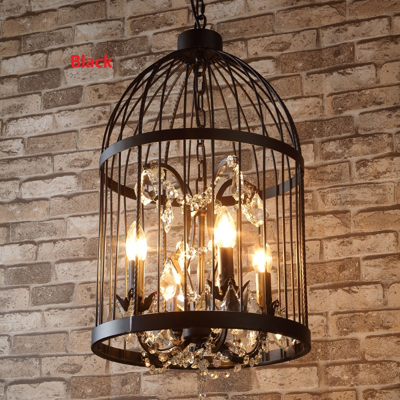 купить H58cm Nordic Birdcage Crystal Pendant Lamps For Dinning Room Restaurant Black Industrial Lighting American Vintage Loft Light недорого