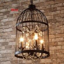 H58cm Nordic Birdcage Crystal Pendant Lamps For Dinning Room Restaurant Black Industrial Lighting American Vintage Loft Light