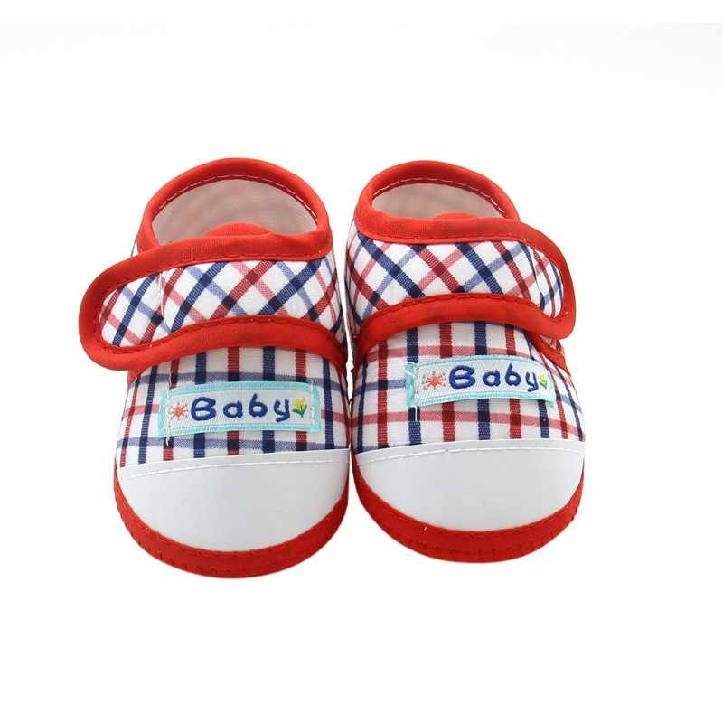Baby First Walkers Girls Boys Plaid Crib Soften Soft Bottom Summer Anti-Slip Toddler Shoes