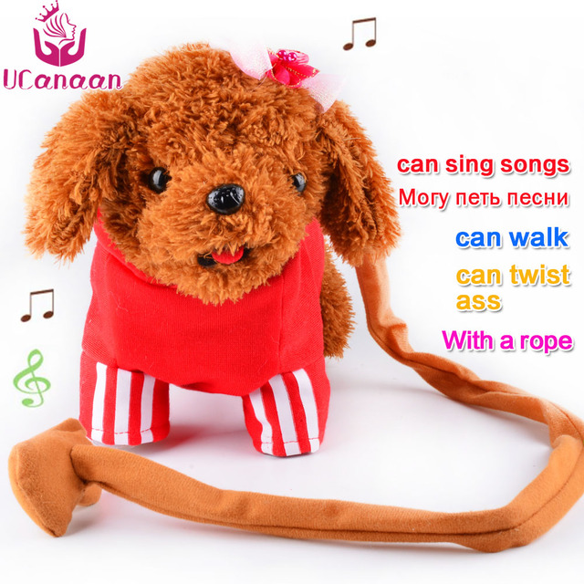 UCanaan Electronic Toys Sound Control Walking Dog Toy Plush Robot Dog Interactive Electronic Pets Toys Best Gifts for Children