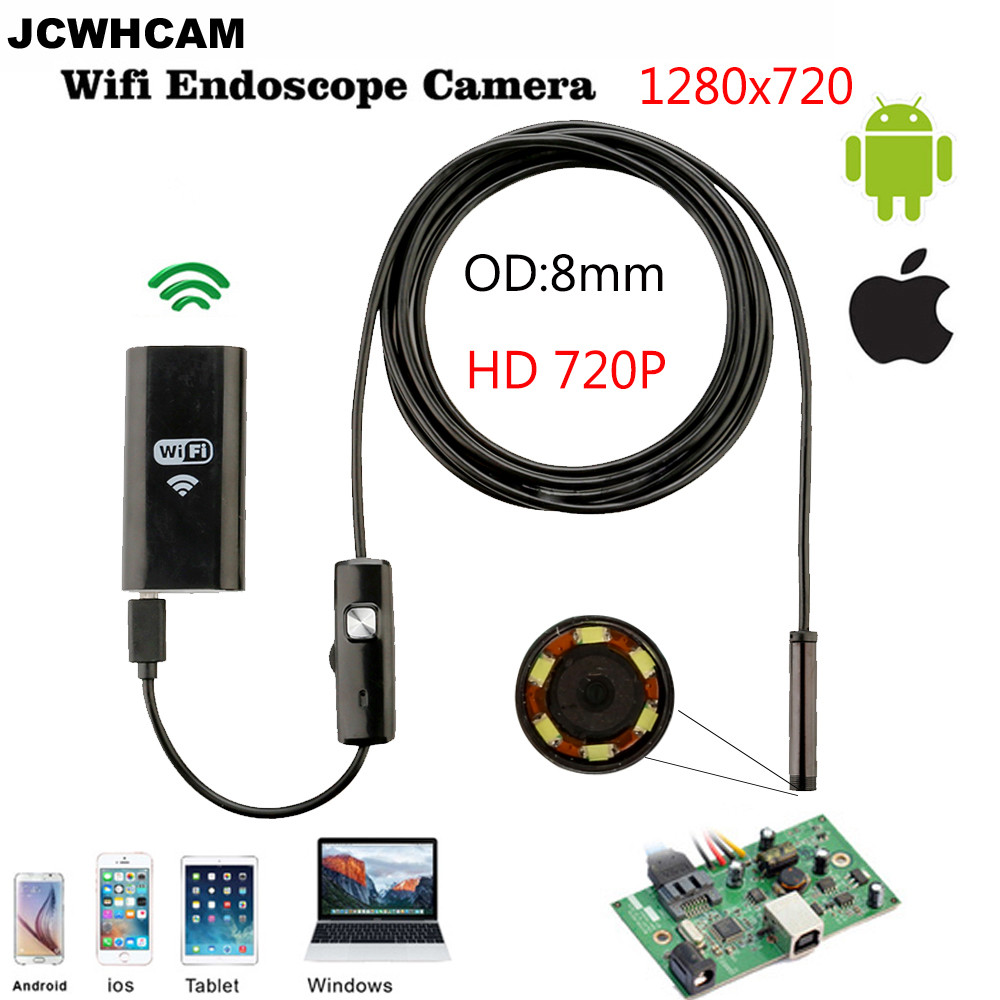8mm Len Wifi Android Ios Endoscope Camera 1M 2M Waterproof Snake Tube Pipe Borescope 720P for Iphone Camera Endoscope gakaki 1m wireless wifi endoscope android camera borescope snake tube 720p waterproof car inspection for iphone endoscope camera