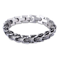 Vingtate Men's Cool Stainless Steel Dragon Grain Bracelets Punk Style Metal Bracelets Bangles Wristband Homme Jewelry
