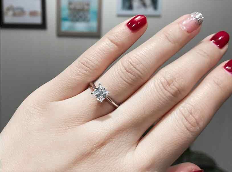 Solitaire cổ điển Lấp Lánh Đồ Trang Sức Thời Trang Tinh Khiết 100% 925 Sterling Silver Chúa 5A Zirconia CZ Phụ Nữ Đơn Giản Wedding Nhạc Chuông