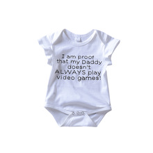 Newborn Baby Girls Romper Letter Daddy Games Print Jumpsuit White Outfit Bebe Boys Clothes boys letter print romper with pants