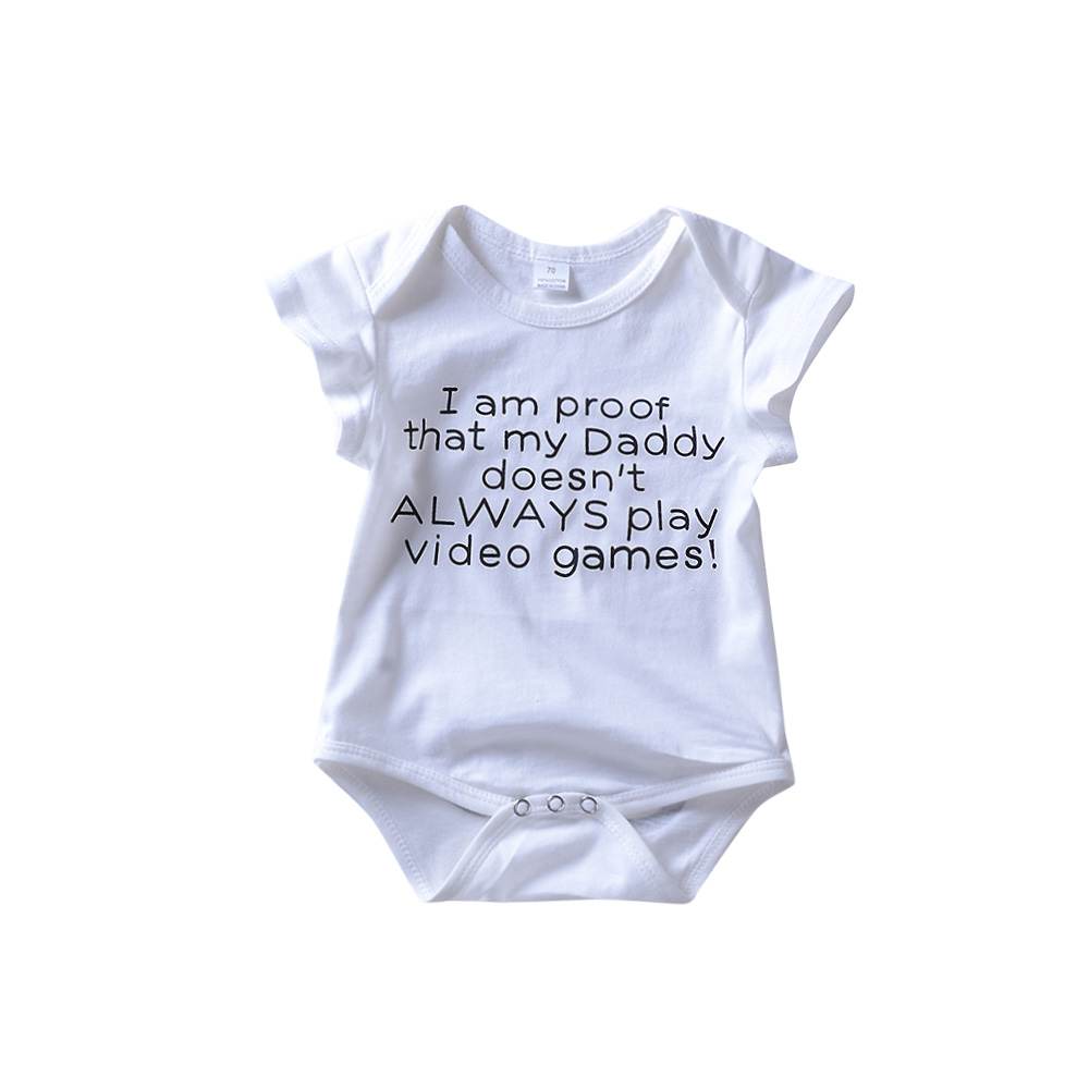 Newborn Baby Girls Romper Letter Daddy Games Print Jumpsuit White Outfit Bebe Boys Cloth ...