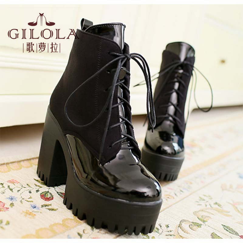 ФОТО size 34-40 new ankle high heels platform sexy snow women lace up boots autumn women's boots winter shoes woman best #Y3210721F