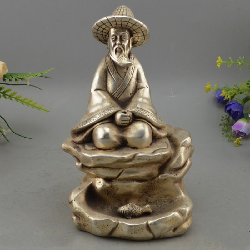 China Folk Silver Carving Seat fisherman fisher fishermen Jiang taigong StatueChina Folk Silver Carving Seat fisherman fisher fishermen Jiang taigong Statue