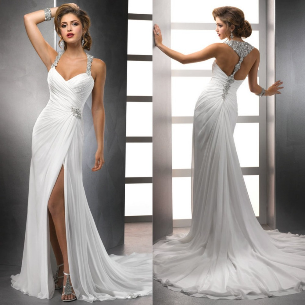 Beach Wedding Gown: White Chiffon Front Silt Casual Style Backless Halter Top