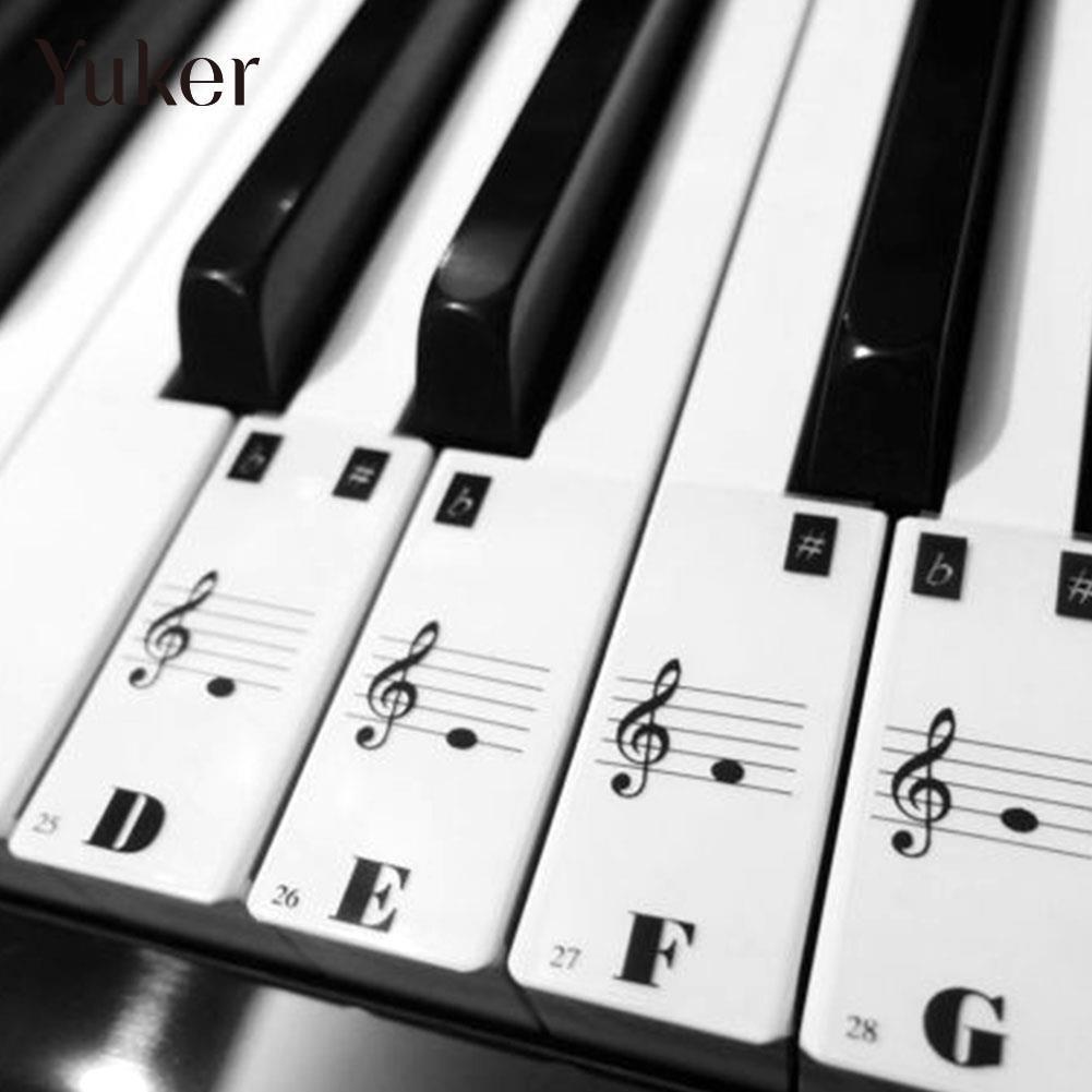 Yuker Piano Keyboard Electronic Keyboard Stickers Decal Label Note Learn Biginners Kid wrap around sizing label 33x32 250 stickers