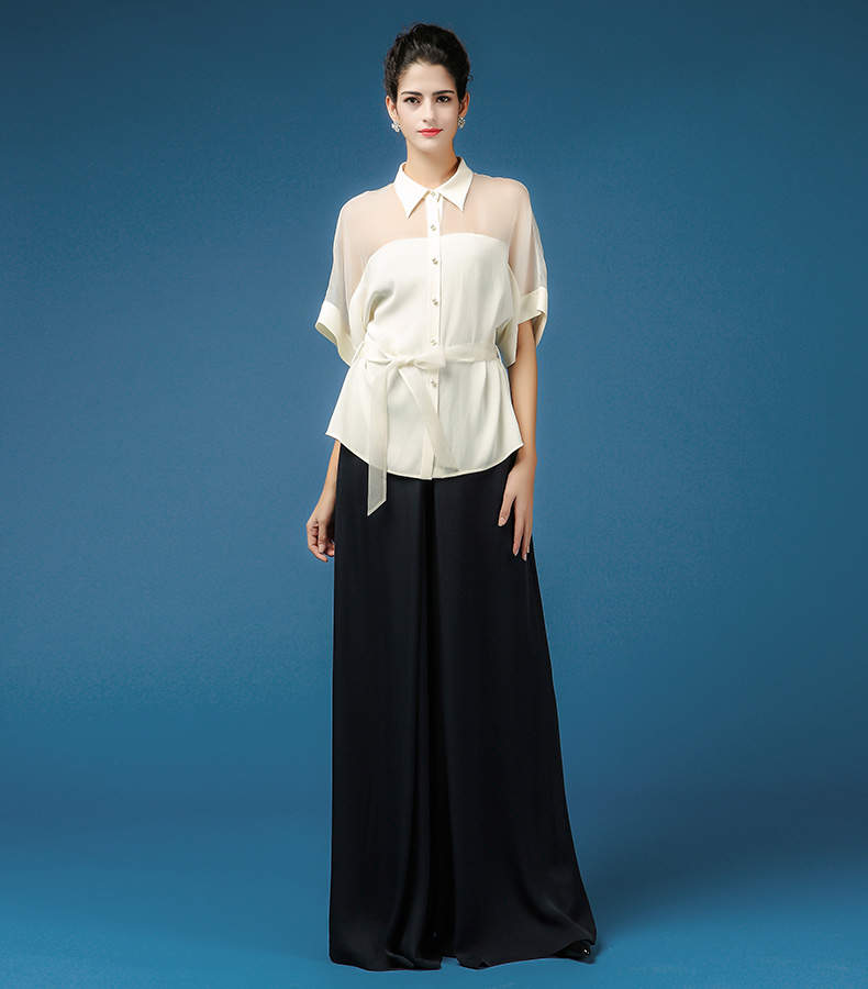 17bd910a377 VOA Heavy Silk Blouse White Women Tops Office Bat Half Sleeve Plus Size 5XL  Loose Shirt Sexy Mesh Brief Casual Belt Summer B7536-in Blouses   Shirts  from ...