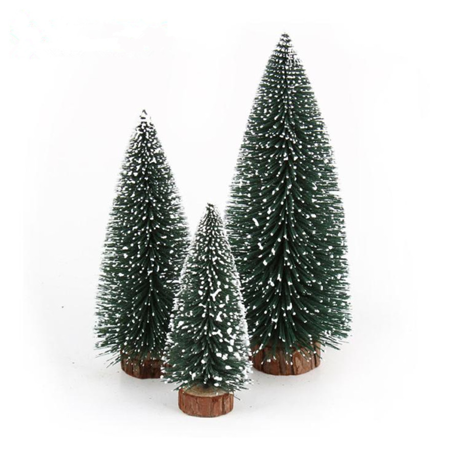 Tiny christmas tree ornaments - 2016 Mini Christmas Tree Decoration For Home Pine Needles Sticky Snow Mini Bonsai Tree Ornaments Christmas