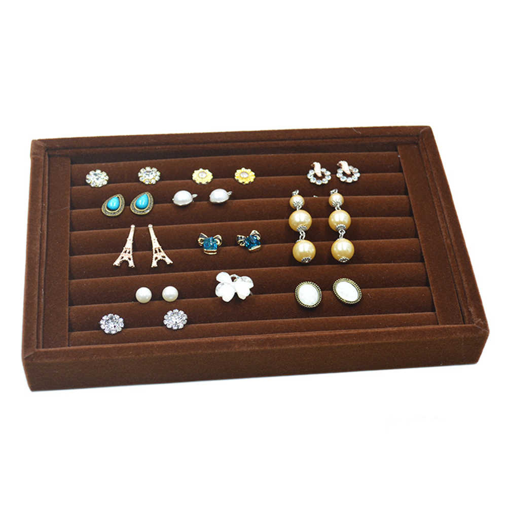 Portable velours bijoux anneau boucle d'oreille insérer boutons de manchette organisateur boîte en bois plat empilable porte-plateau vitrine de stockage