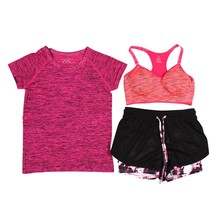 3Pcs Women Fitness Running Yoga Sets Short Sleeve T-Shirt+Sport Bra+Shorts Trousers Sport Set Training Suit Quick Dry