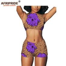2019 african wax pattern biker shorts set for women AFRIPRIDE tailor made crop tank top+ biker shorts women summer set A1926002 недорого