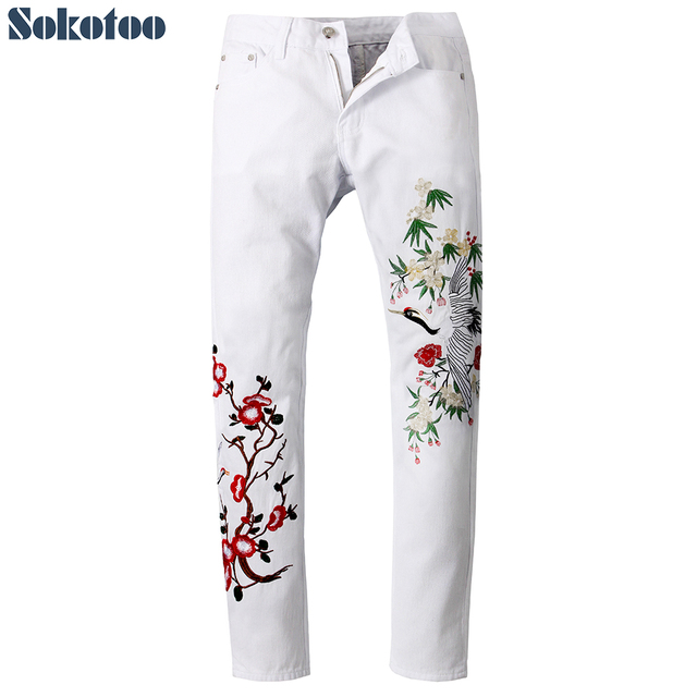Sokotoo Men's fashion white crane flower embroidery jeans Slim fit embroidered denim pants