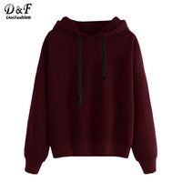 Dotfashion Burgundy Drop Shoulder Hooded Pullovers Women Casual Wear Clothing Plain Long Sleeve Sweatshirt
