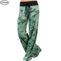 Women Fashion Camouflage Print Lace Up Loose Pants Casual Long Trousers