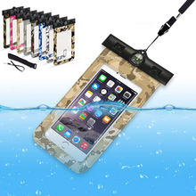 IPX8 Waterproof Case For Phone Pouch Case Swimming Bag With Compass Arm Band Underwater Diving Phone Touch Dry Bag Camouflage