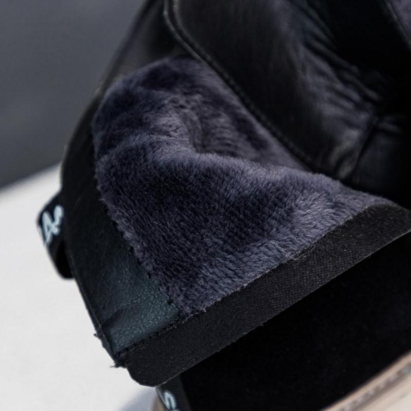 Bagatelle Semelle Bottes Plate Lacets Razamaza Chaussures Épaisse Cuir Étoiles Véritable À Lettre Femmes De Noir Fourrure D'hiver forme En Martin 77XzP