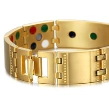 Exquisite Crystal Titanium Bracelets Bangles Magnetic Germanium Negative ions Far Infrared Tourmaline Men's Jewelry