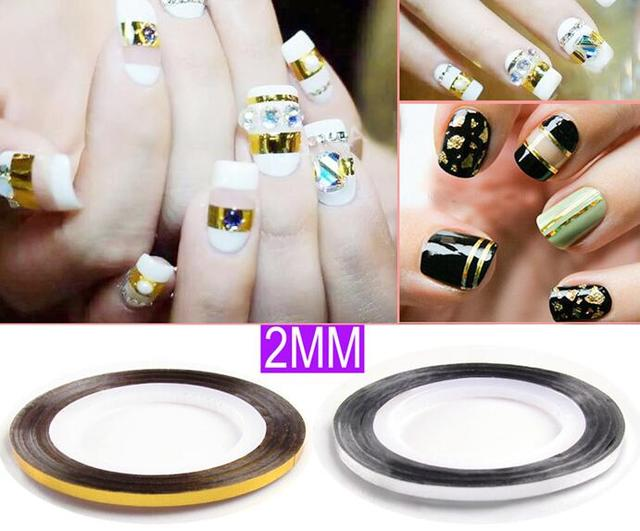 NAIL ART STRIPING TAPE WHITE /Black/Silver/Gold 2MM 50Rolls Nail Art ...
