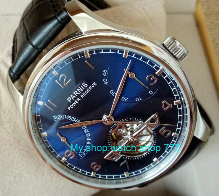 new  blue dial 43mm PARNIS   Automatic Self-Wind mechanical movement  men watches  power reserve Mechanical watches zdf1